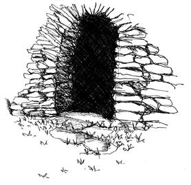 Croquis de l'entrée d'une borie, stylo noir sur papier, mai 2010.