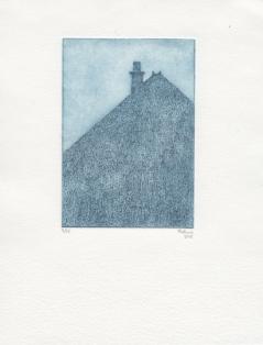 Maison poilue, 15 exemplaires, 2013, pointe sèche sur plexiglas, matrice 15 x 10 cm, papier 21 x 14, 8 cm