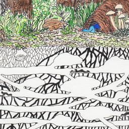 Explorer, aquarelle et stylo sur papier, 9 x 9 cm, 2013