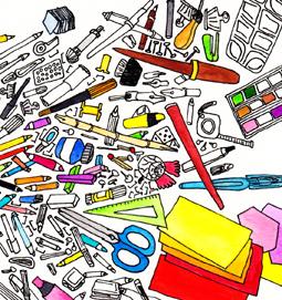 Penser parfois à ranger le bureau, aquarelle et stylo sur papier, 9 x 9 cm, 2013