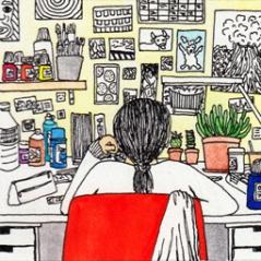 Se concentrer, aquarelle et stylo sur papier, 9 x 9 cm, 2013