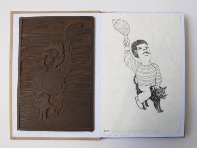 Plaque de linoleum et dessin au stylo noir sur papier, 15 x 10 cm, 2014 et 2012